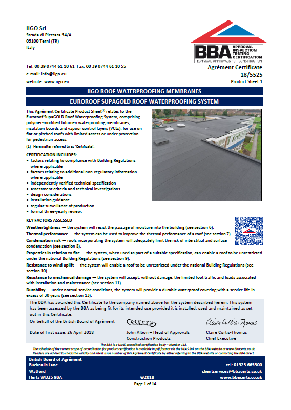 BBA (18/5525) Euroroof SupaGOLD Waterproofing System