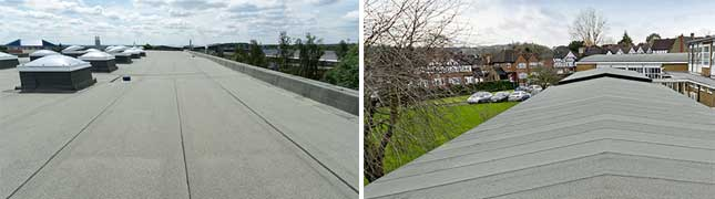 flat roof bituminous membrane with a mineral upper layer that neutralises CO2